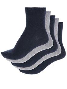 Súprava piatich párov dievčenských ponožiek v sivej a modrej farbe name it
