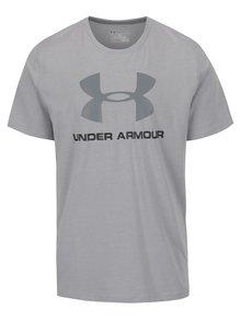 Světle šedé pánské funkční triko s potiskem Under Armour Sportstyle Logo