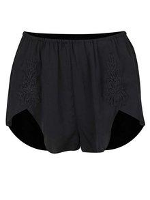 Černé pyžamové kraťasy s krajkovými detaily Y.A.S Emilia