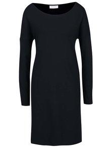 Tmavomodré šaty s volánom na rukávoch VILA Hasa