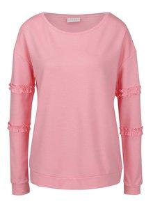 Bluză roz cu mâneci lungi și volănașe VILA Hasa
