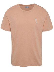 Svetloružové melírované tričko s detailom Jack & Jones Costa