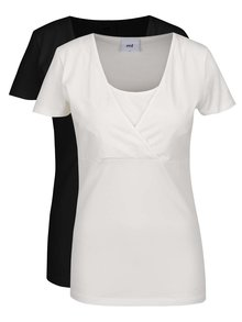 Sada dvou těhotenských/kojících triček v krémové a černé barvě Mama.licious Lea
