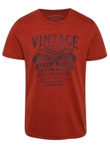 Tricou roșu din bumbac Jack & Jones Custom 6 cu print