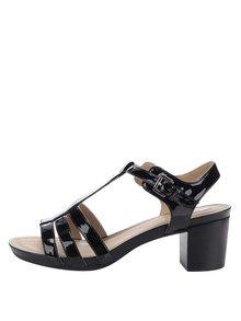 Černé lesklé sandálky na širokém podpatku Geox Symi C