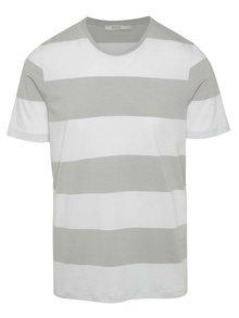 Tricou alb&gri Jack & Jones Pima în dungi