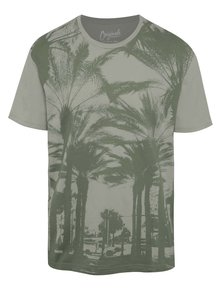 Tricou gri&verde Jack & Jones Malibu cu print tropical