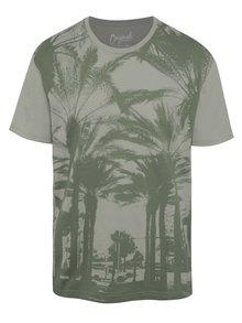Sivo-zelené tričko s potlačou Jack & Jones Malibu