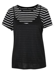 Čierne pruhované tričko s tielkom ONLY New Clora