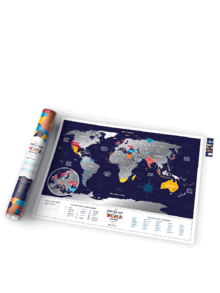 Tmavě modrá stírací mapa světa Travel Map