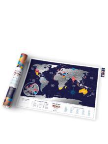 Tmavomodrá stieracia mapa sveta Travel Map