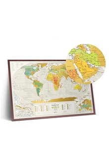 Stieracia mapa sveta v zeleno-zlatej farbe Travel Map