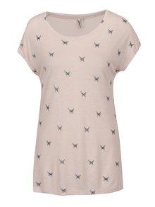 Světle růžové tričko s potiskem motýlů ONLY Sophie