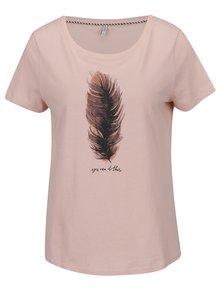 Světle růžové tričko s potiskem ONLY Alba