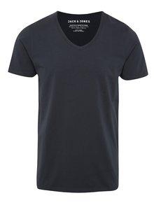 Modré tričko s véčkovým výstřihem Jack & Jones Basic