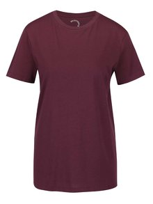 Tricou basic vișiniu Selected Femme My Perfect  din bumbac