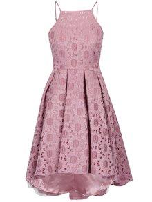 Starorůžové krajkové šaty s prodlouženým zadním dílem Chi Chi London Ruthie