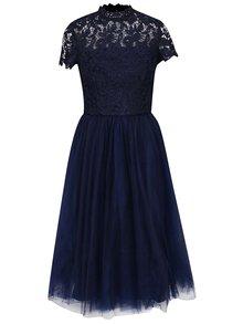 Tmavě modré šaty s krajkovým topem a tylovou sukní Chi Chi London Ari