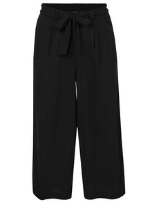 Pantaloni culottes negri VERO MODA Maili cu panglici în talie