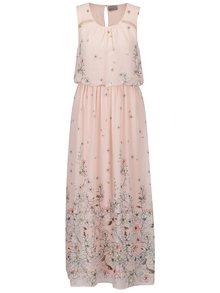 Rochie maxi roz VERO MODA Lea cu model floral