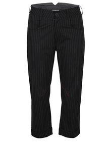 Bílo-černé pruhované zkrácené kalhoty s vysokým pasem Silvia Serban