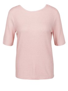 Tricou roz din jerseu VERO MODA Kaitlyn  cu detaliu VERO MODA Kaitlyn cu detaliu încrucișat