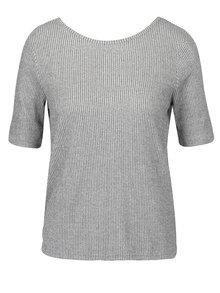 Šedé pruhované tričko s překládanou zadní částí VERO MODA Kaitlyn