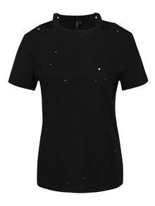 Čierne tričko s prestrihmi VERO MODA Juniper
