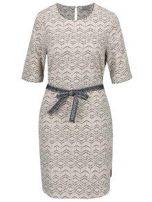 Béžové lněné vzorované šaty s páskem VERO MODA Milo