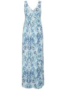 Bílo-modré vzorované maxišaty s překládaným dekoltem Yest