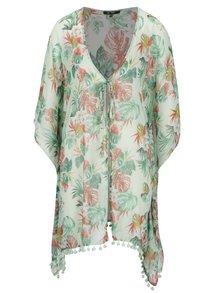 Svetlozelené priesvitné kimono s motívom listov Yest