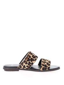 Hnedé dámske kožené papuče s leopardím vzorom Vagabond Natalia