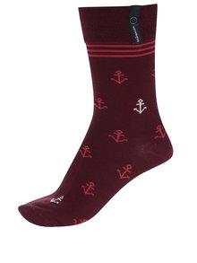 Vínové unisex vzorované ponožky V páru