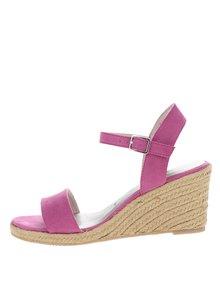 Sandale roz cu platformă din rafie Tamaris