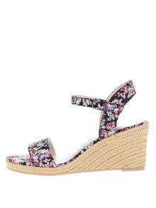 Černé květované páskové sandály na klínku Tamaris