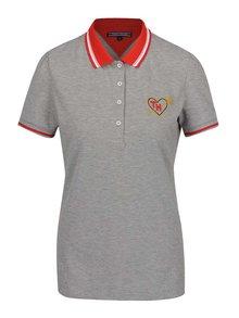 Červeno-šedé dámské polo tričko s výšivkou Tommy Hilfiger
