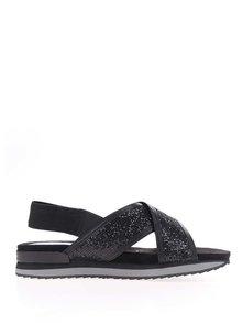 Sandale negre cu ștrasuri și platformă mică Tamaris