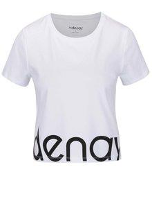 Tricou crop alb cu logo Denay