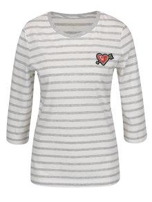 Svetlosivé dámske pruhované tričko s 3/4 rukávom Tommy Hilfiger