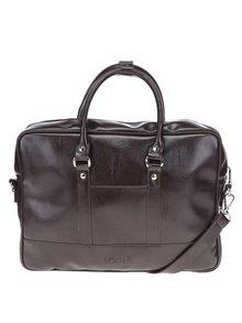 Tmavě hnědá pánská taška na notebook Solier Torba