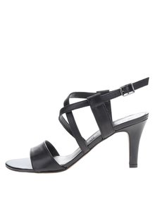 Černé kožené sandálky na podpatku s překříženými pásky Tamaris
