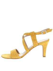 Žluté semišové sandálky na podpatku s překříženými pásky Tamaris
