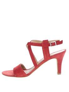 Červené semišové sandálky na podpatku s překříženými pásky Tamaris