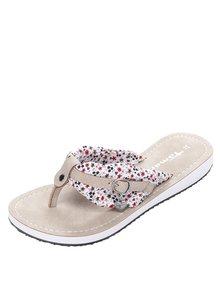 Papuci flip-flop bej cu aplicație textilă și cataramă Tamaris