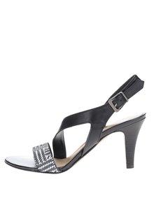 Čierne kožené vzorované sandálky na podpätku Tamaris