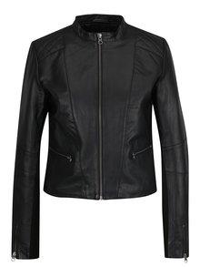 Čierna kožená bunda VILA Flora
