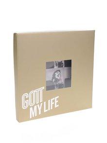 Bielo-čierna pánska saténová vreckovka do saka Gott My Life