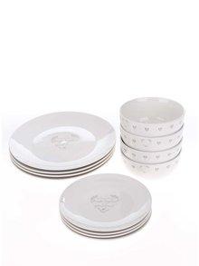 Set dvanácti kusů bílého porcelánového nádobí s potiskem Cooksmart