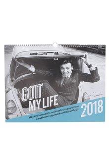 Modro-sivý závesný kalendár Gott My Life 2018