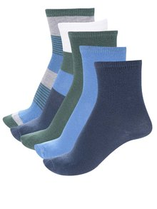 Sada pěti párů klučičích modrých a zelených ponožek name it Holger
